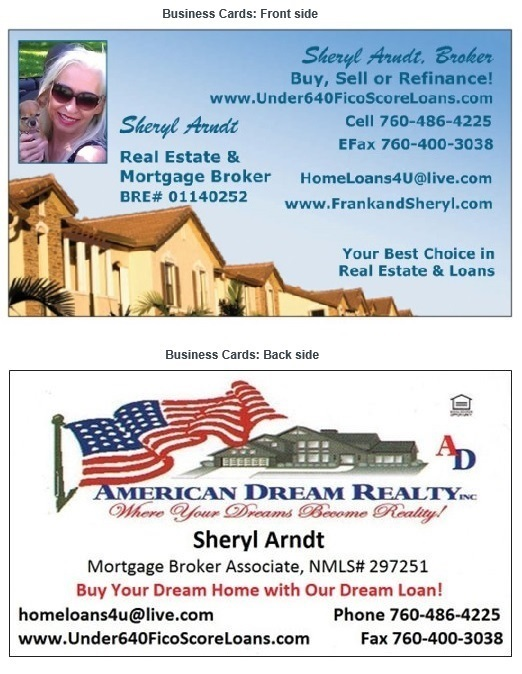 Sheryl Arndt, Broker business card